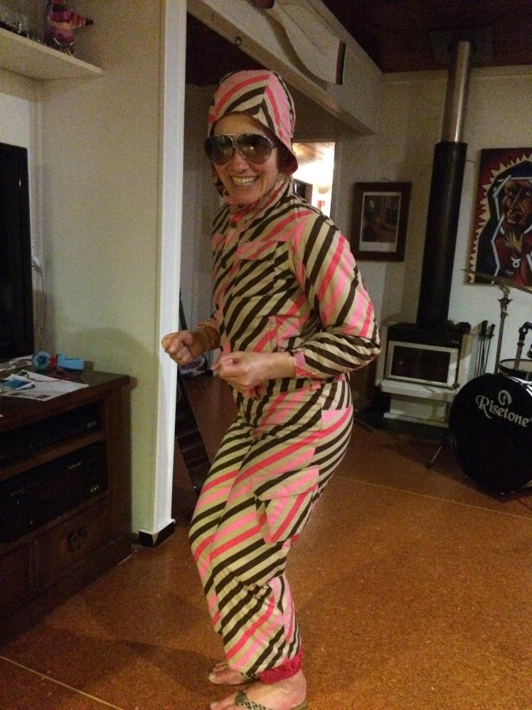 Skking Angela Barnett ski outfit pink stripes