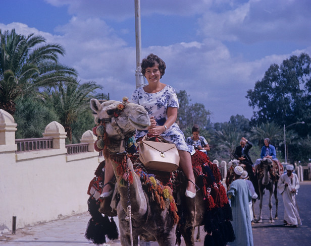 KB2 Karen Barnett on camel, Cairo, Egypt Photo Julene